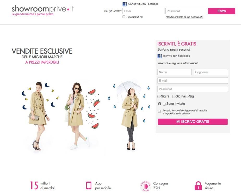 Homepage Showroomprive e pagina registrazione