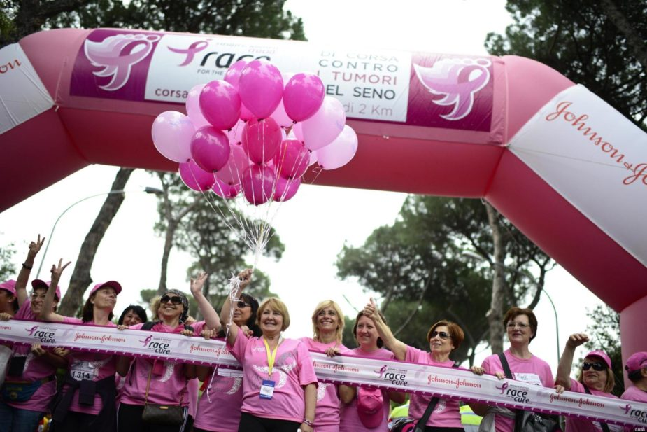 Some women participate at the marathon 'Race for the Cure', against breast cancer, 20 may 2012 in Rome, Italy. ANSA / GUIDO MONTANI